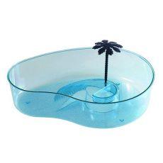 Terrarium pentru broaște țestoase cu palmier – albastru deschis
