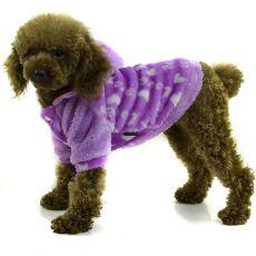 Jachetă pentru câine - cu glugă, mov, S