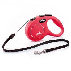 Lesă Flexi New Classic S, pentru câini de până la 12kg, lungime 5m - culoare roșie