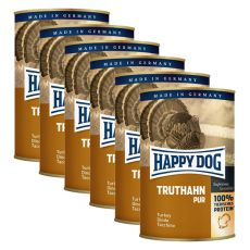 Happy Dog Pur - Turkey, 6 x 400g, 5+1 GRATUIT