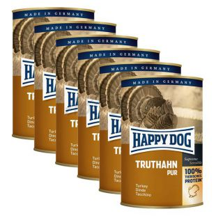 Happy Dog Pur - Turkey, 6 x 400g, 5+1 GRATUIT