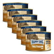 Happy Dog Pur - Turkey, 6 x 200g, 5+1 GRATUIT