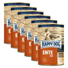 Happy Dog Pur - Ente/duck, 6 x 400g, 5+1 GRATUIT