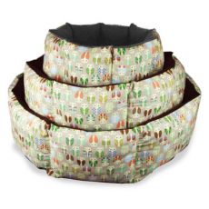 Culcuș de câine - bej, cu formă octogonală și model cu bufnițe, 75 cm