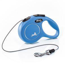 Lesă Flexi New Classic XS până la greutate corporală de 8kg, cu sfoară de 3m lungime - culoare albastră