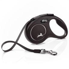 Lesă Flexi New Classic S, pentru câini de până la 15kg, lungime bandă  5m - culoare neagră