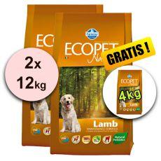 Farmina MO P ECOPET N dog LAMB MINI 2 x 12 kg + 4 kg GRATUIT
