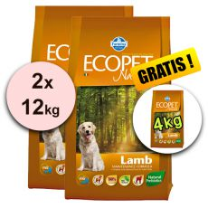 Farmina MO P ECOPET N dog LAMB MAXI 2 x 12 kg + 4 kg GRATUIT