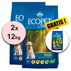 Farmina MO P ECOPET N dog FISH MINI 2 x 12 kg + 4 kg GRATUIT