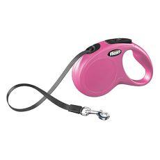 Lesă Flexi New Classic, M-L, pentru câini de până la 50kg, lungime coardă 5m  - culoare roz