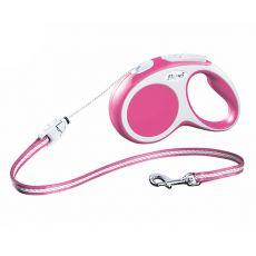 Lesă Flexi Vario S, pentru câini de până la 12kg, lungime coardă 5m - culoare roz