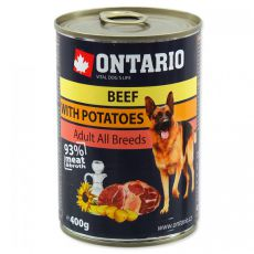 Conservă Ontario pentru câini - Vită cu Cartofi și Ulei de Floarea-Soarelui - 400g