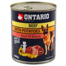 Conservă ONTARIO Beef with Potatoes and Sunflower Oil pentru câini - 800g