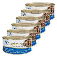 Applaws Cat - conservă pentru pisici cu ton și creveți, 6 x 70g