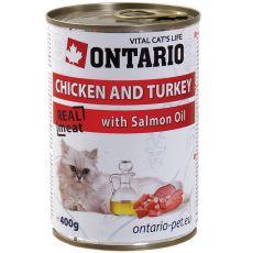 Conservă ONTARIO pentru pisici - cu pui, curcan și ulei - 400 g