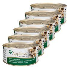 Applaws Cat - conservă pentru pisici cu ton și  alge maritime, 6 x 70g
