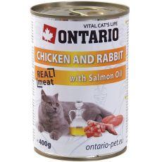 Conservă ONTARIO pentru pisici - cu pui, iepure și ulei - 400 g