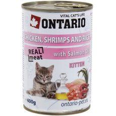 Conservă ONTARIO Kitten - cu pui, creveți, orez și ulei  - 400 g