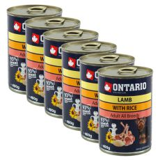 Conservă ONTARIO Miel cu Orez și Ulei de Floarea-Soarelui pentru câine -6x400g