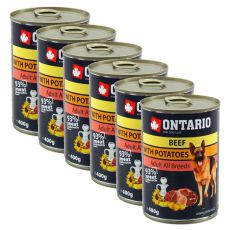 Conservă ONTARIO Beef with Potatoes and Oil pentru câini - 6x400g