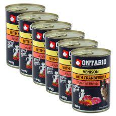 Conservă ONTARIO Vânat cu Merișoare și Ulei de Floarea-Soarelui pentru câine - 6x400g