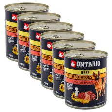 Conservă ONTARIO Beef with Potatoes and Sunflower Oil pentru câini - 6x800g