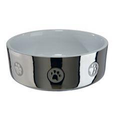 Castron de ceramică pentru câini, argintiu - 0,8 l