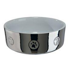 Castron din ceramică pentru câini, argintiu - 0,3 l