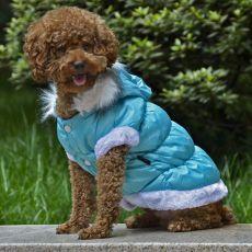 Jachetă cu glugă detaşabilă pentru câini - albastru, L