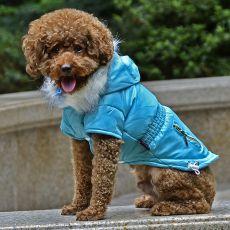 Jachetă pentru câine, cu buzunar fals - albastru, S