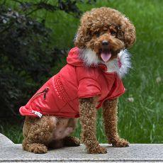 Jachetă pentru câine cu buzunar fals - roşu, XS