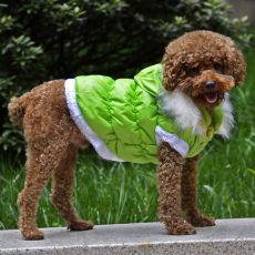 Jachetă pentru câine, cu glugă detaşabilă - verde, S
