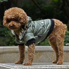 Jachetă pentru câine, cu blană artificială - verde, M