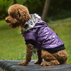 Jachetă pentru câine, cu blană artificială - mov, M