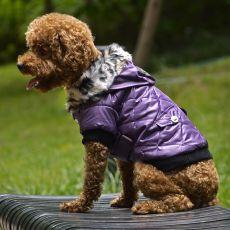 Jachetă pentru câine, cu blană artificială - mov, XL