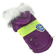 Jachetă pentru câine, cu patch - mov, S
