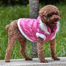 Jachetă pentru câine, cu glugă detaşabilă - roz, XL