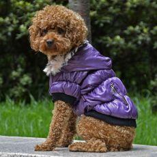 Jachetă pentru câine, cu manşete negre - mov, XL