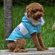 Jachetă pentru câine, cu patch - bleu, S