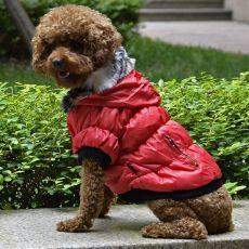 Jachetă pentru câine, cu manşete negre - roşu, S