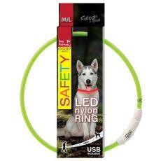 Zgardă pentru câine Fantasy LED nailon - verde, 65cm