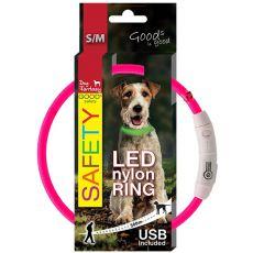 Zgardă pentru câine Fantasy LED nailon  - roz, 45cm