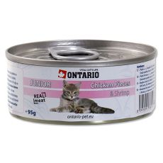 Conservă ONTARIO Junior - Bucăți de carne de pui și Creveți - 95 g