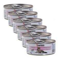 Conservă ONTARIO Junior - bucățele carne de pui și creveți - 6 x 95 g