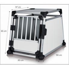 Cutie din aluminiu pentru transportul câinilor cu mașina - 63 x 65 x 90 cm