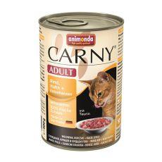 Conservă CARNY ADULT vită, pui + inimi de rață - 400g