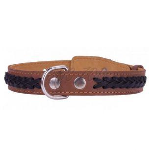 Zgardă de câini din piele 38 - 50cm, 25mm - maro - negru