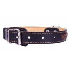 Zgardă din piele pentru câini 47 - 62cm, 35mm, negru - maro