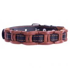Zgardă pentru câini din piele, 29 - 35cm, 14mm, negru - maro