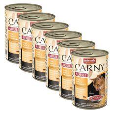 Conservă CARNY ADULT vită, carne de pui + inimi de rață - 6 x 400g